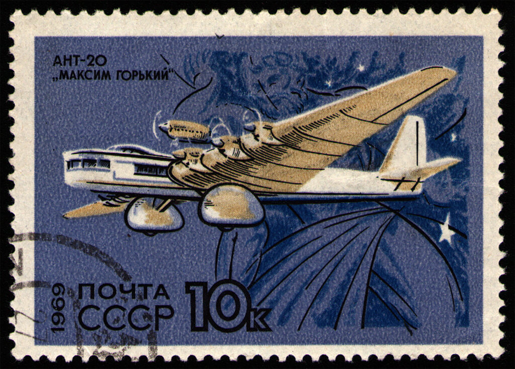 Flyer di propaganda: il Tupolev Gorky era una tipografia volante.