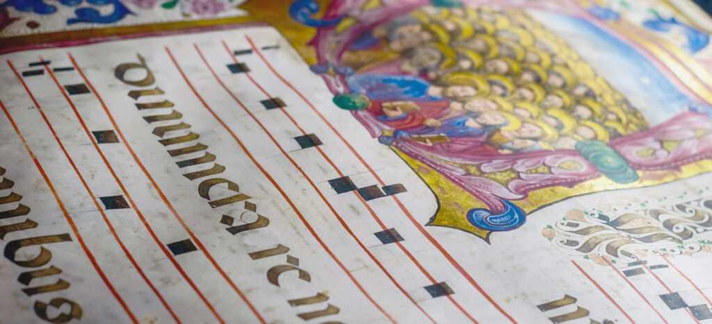 Caratteri d'oro in un manoscritto medioevale